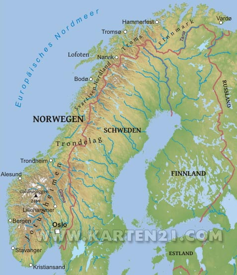 Earth Physical Map norwegen karte | World...